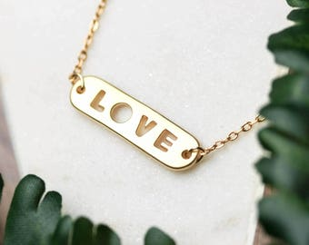 Dainty love necklace | Gold plated layering necklace | Gifts for her under 20 | Anniversary gift | Valentine's day | Love jewelry |
