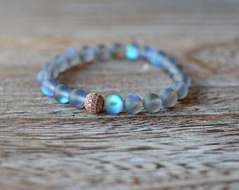 Labradorite Bracelet with rose gold pave