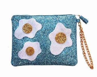 Glitter Fried Egg Clutch Purse Handbag - LIMITED EDITION