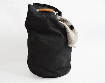 sailor bag - laundry bag - storage bag made of black twill - smaller version