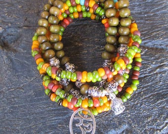 Bohemian Stretch Stack Bracelet Set of 8 - OM and Buddha Charm Bracelet Set - Meditation Bracelet Set