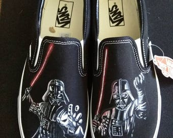 Star Wars Darth Vader the Dark Side Vans Slip On Hand painted shoes