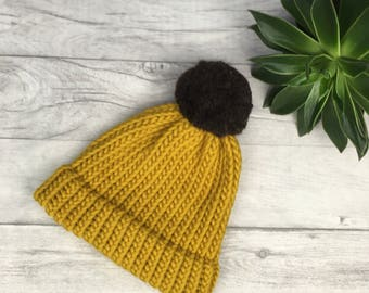 Mustard knitted beanie hat with brown pom pom, ski hat, skiing hat, unisex hand knitted hat, hats for women, mustard yellow etsy uk etsyuk