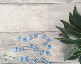 Blue check bows, scrapbooking embellishments, gingham bows, card making supplies, mini hair bows, wedding favours, tiny bow, craft supplies