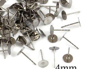 4mm Stainless Steel earstud - post earrings - flat pad earrings - stainless steel earrings - stud earrings (1980)