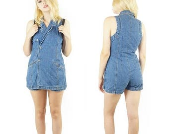 ON SALE Denim Early 90s Jumpsuit Dress, Denim Skort One-Piece, 90s Boho, Vintage Denim Fitted Bodysuit, Women's Size 9 Medium