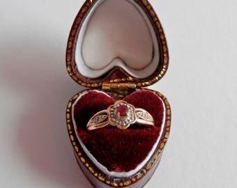 9ct Gold Ruby & Diamond Ring, Vintage 9K Engagement Ring, Floral, UK Size L 1/2 Dress Ring