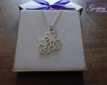 Silver Handmade Octopus Jewellery - Animal Necklace - Sea Creature Pendant