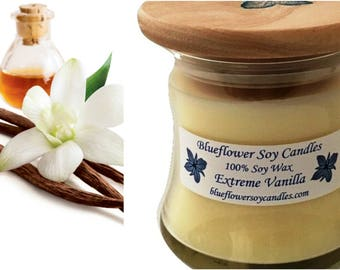 Scented Soy Candle Vanilla Hand-Poured 12 oz Jar With Wood Lid