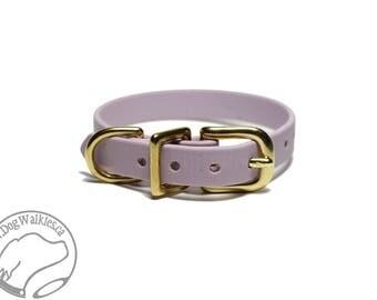 "Lavender Pastel Purple Little Dog Collar - 1/2"" (12mm) Thin Biothane Dog Collars - Waterproof Small Dog Collar"