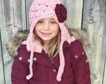girls winter hat, newborn girl hat, baby girl hat, Baby hat, kids hat, girls hat, winter hat,  little girls hat, blush hat, rose pink hat