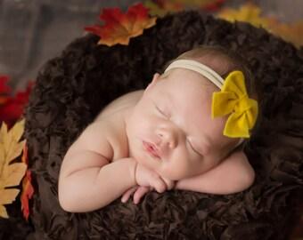 Yellow Bow, Sailor Bow, Baby Headband, Nylon Headband, Newborn Bows, Baby Bows, Hair Bows, Girls Hair Clips, Schoolgirl Bows, Infant Bow