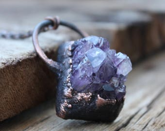 "Cluster Amethyst Crystal Quartz Necklace • ""One Of A Kind"" • Boho • Electroformed • Healing Quartz• Nature Inspired"