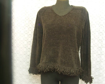Ladies Brown Sweater M size Acrylic, Chocolate Brown, Long Sleeve, Tassels, Cozy Sweater, Fringe