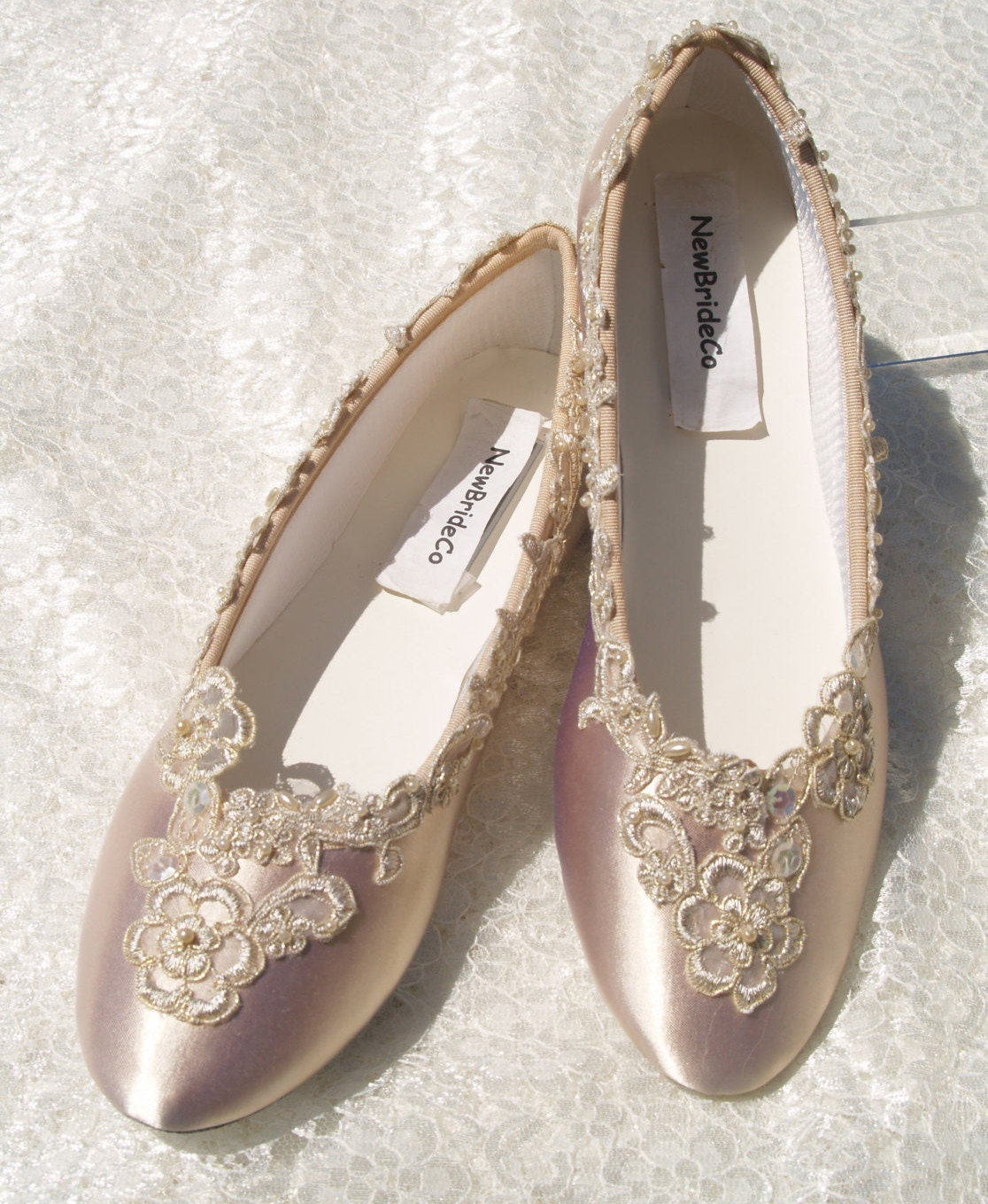 Gold High Heel Bridesmaid Name Champagne Party Wedding: Champagne Wedding Flats Bridal Shoe Elegantly Gold Trimmed