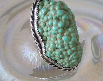 Beautiful Rare Huge Botryoidal Royston TURQUOISE Vintage Sterling Silver Ring