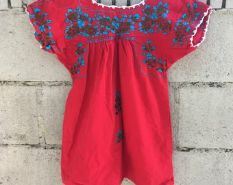Girl's Oaxacan Dress Child's Mexican Dress Maroon Embroidered Little People Boho Hippie Dress Ethnic Girls' 5 to Girl's 6 Medium Dress