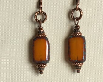 Rustic, dark orange, Czech glass rectangle beads with copper accents and ear wires