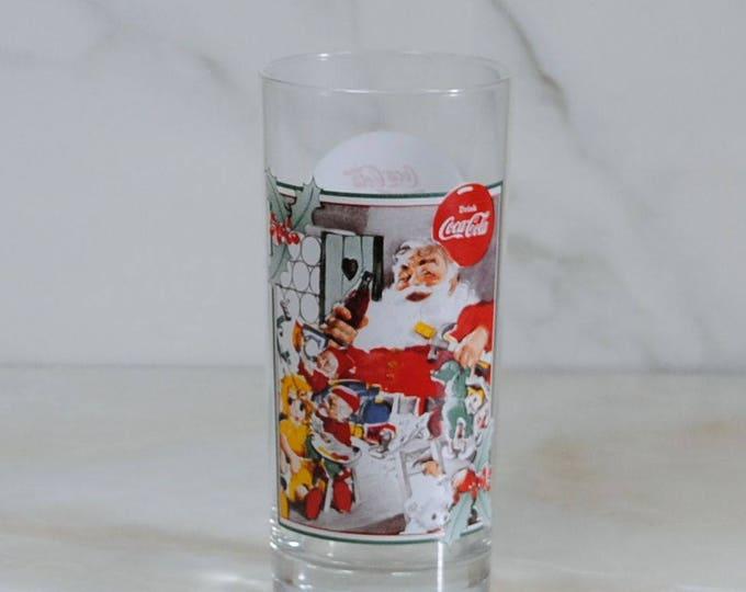 Vintage Coca-Cola Santa Glass, Krystal Collection 1994, Art by Haddon Sundblom, Promotional Glass, Christmas Glass, Coke Collectible, Xmas