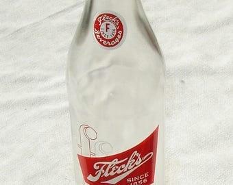 Vintage Clear Glass Fleck's Beverage Bottle