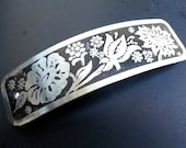 Flowers Etched Silver Hair Barrette, hand etched artisan metal barrette with flower design