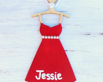 Personalized Girls Dress Christmas Ornament with Ribbon (YOUR COLOR CHOICE)