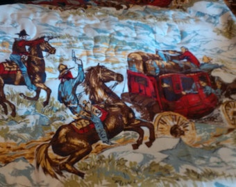 Full/Queen Size Quilt - Stagecoach, Cowboys Fabric Print - Vintage Beadspread, quilted into Blanket - soft & snugly