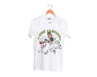 vintage t shirt / Jose Canseco shirt / Oakland Athletics / 1980s white Jose Canseco 40-40 Club baseball t shirt Medium