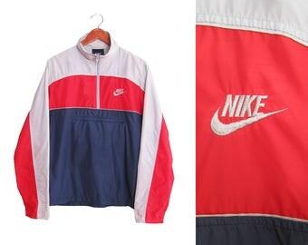 vintage windbreaker / NIKE windbreaker / 90s sportswear / 1980s NIKE blue tag anorak windbreaker Large
