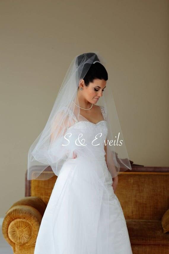 2-Tier DROP Veil | wedding veil, bridal veil, blusher veil, champagne, ivory, diamond white, blush color, medium fullness veil, light ivory