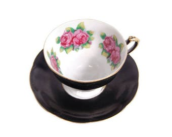 Vintage English Crown China Black Teacup Saucer Pink Roses Gold Trim Footed Tea Cup Handpainted Porcelain