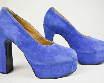 80s 90s Blue Suede Westwood Style Covered Platform Pumps Shoes UK 6 / US 8.5 / EU 39