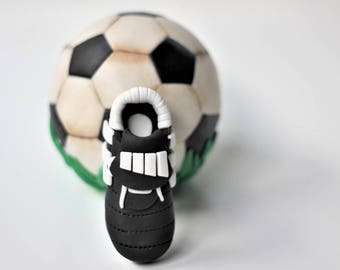 3D Fondant soccer ball and soccer shoe cake topper. Soccer ball fondant toppers. Sports fondant toppers. Soccer shoe cake topper