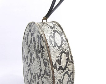 Vintage 1960's Faux Snake Print Case With Handle