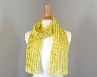 Bright Yellow Scarf, Airy Lace Design, Cotton Linen, Hand Knit, Eco Friendly Natural Fiber, Women Teen Girls Fashion Scarf