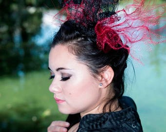 Red & Black Distressed Crinoline/Horsehair Headband