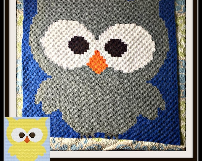 Featured listing image: Owl Baby Afghan, C2C Graph, Written Word Chart, Owl C2C Graph, Corner to Corner, C2C Crochet