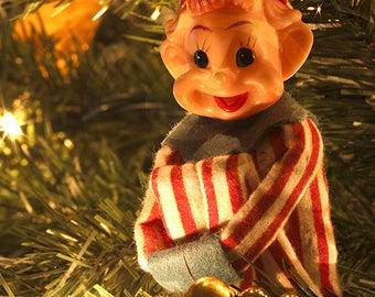Photo of Vintage Elf Ornament, Holiday Clip Art, Stock Images, Instant Download, Digital Download, Stock Photo, Red, Green, Digital Download