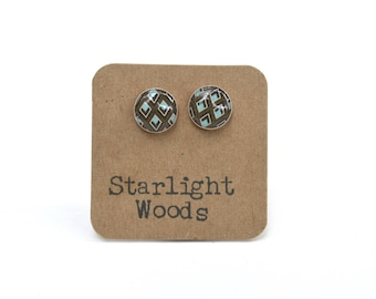 Geometric stud earrings brown earrings summer outdoors wood brown studs post earrings wood earrings starlight woods