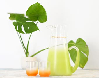Lime and Orange Blendo Set - Chartreuse Green Pitcher with a Gold Band and Orange Frosted Glasses