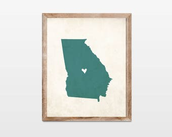 Georgia Rustic State Map. Personalized Georgia Map Art Print 8x10. Georgia State Family Map Art. Hometown Heart Map. Personalized State Map.