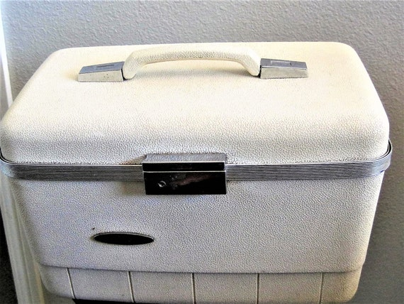 Mid Century Train Case - White Luggage - Travel Display Case -  Wedding