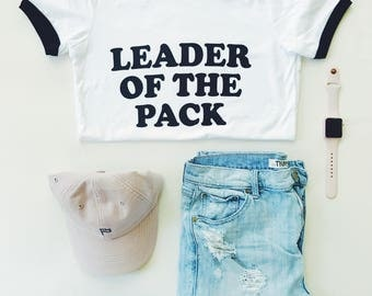 Women's LEADER of the PACK - White & Black Ringer Tee