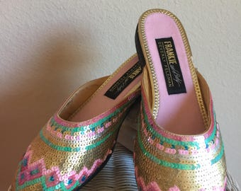 NEVER WORN Sequin Slipper Flats - Womens 7 - Sequin Slides - Sequin Slip-on Shoes - Frankie and Baby Beverly Feldman - Vintage Sequin Shoes