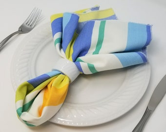 """4 Picnic Stripe 20"""" Napkins, Cotton Twill - Set of Four, American Made, Large Colorful Fabric Napkins, Spring, Summer, Entertaining Hostess"""