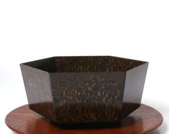 Vintage Bakelite planter - fruit bowl - 1930s German Art Deco - Bauhaus Modernist design - geometric hexagonal form