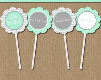 Printable Mint Green Grey Baby Shower Cupcake Toppers - EDITABLE Cupcake Decorations Instant Download Mint Gray Chevron Cupcake Picks BB1