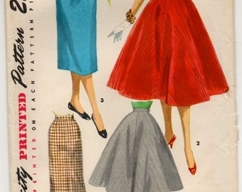 "1950's Simplicity Full or Slim Skirt with Suspenders Pattern - Waist 25"" - no. 1281"