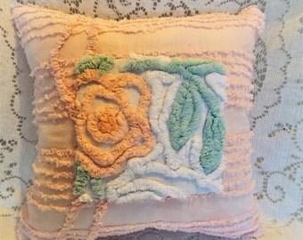 Shabby Chic Pillow, Cottage Chic Pillow, Chenille Pillow, Decorative Pillow, Cotton Pillow, Handmade Pilllow, Pink Pillow, Nursery Pillow