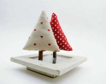 Linen Tree Holiday Ornaments in Natural and Red Linen Christmas Table Decor